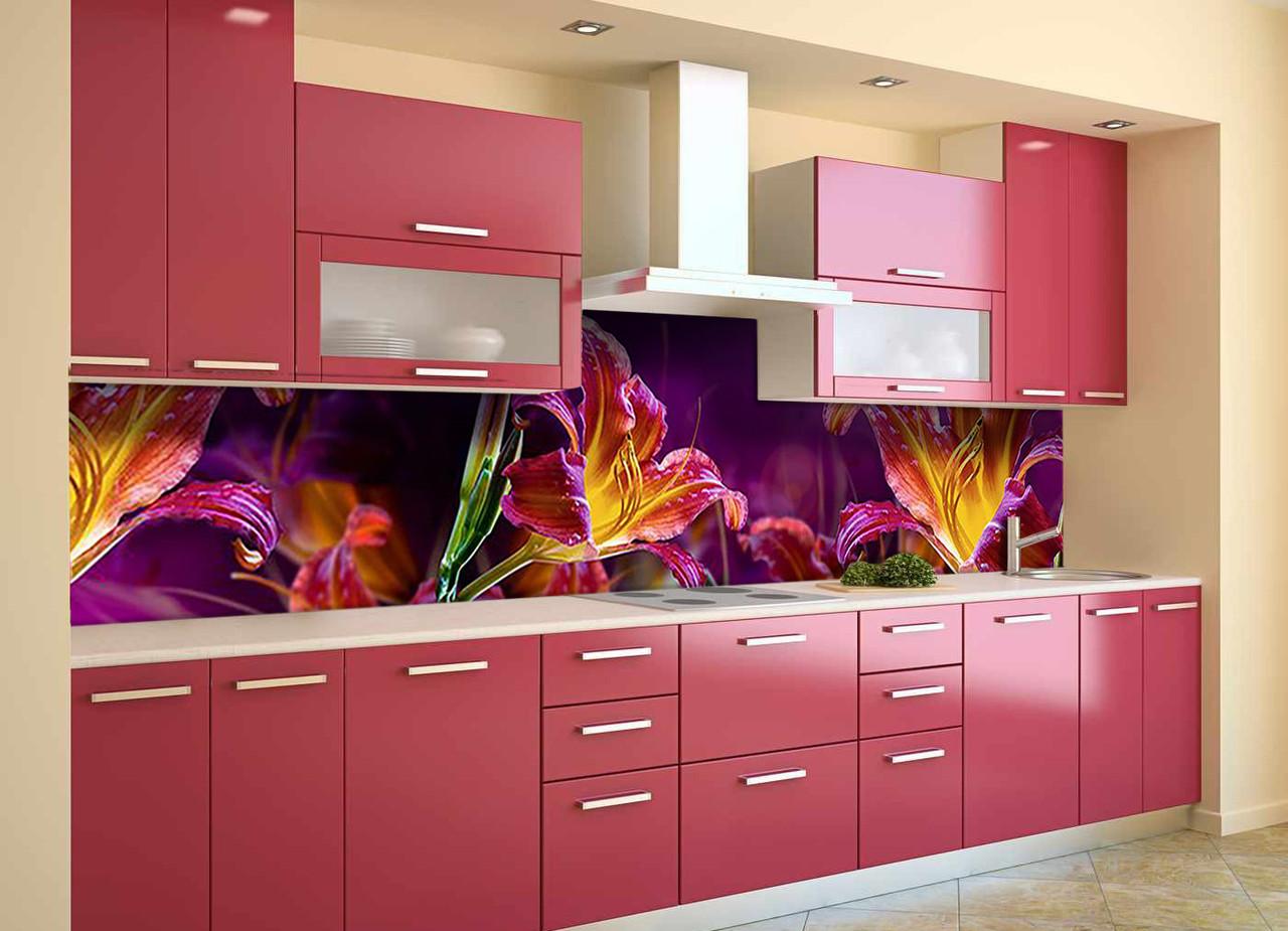 Скинали на кухню Zatarga «Сказочные Лилии» 650х2500 мм виниловая 3Д наклейка кухонный фартук самоклеящаяся
