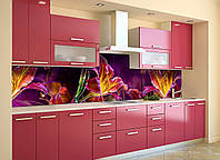 Скинали на кухню Zatarga «Сказочные Лилии» 650х2500 мм виниловая 3Д наклейка кухонный фартук самоклеящаяся, фото 1