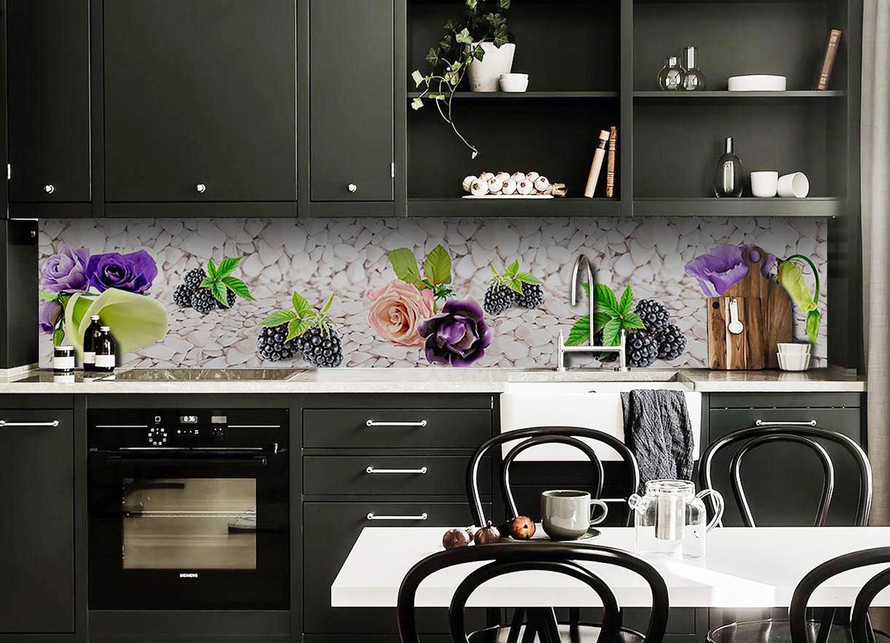 Скинали на кухню Zatarga «Ягоды и Цветы» 650х2500 мм виниловая 3Д наклейка кухонный фартук самоклеящаяся