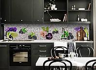 Скинали на кухню Zatarga «Ягоды и Цветы» 650х2500 мм виниловая 3Д наклейка кухонный фартук самоклеящаяся, фото 1