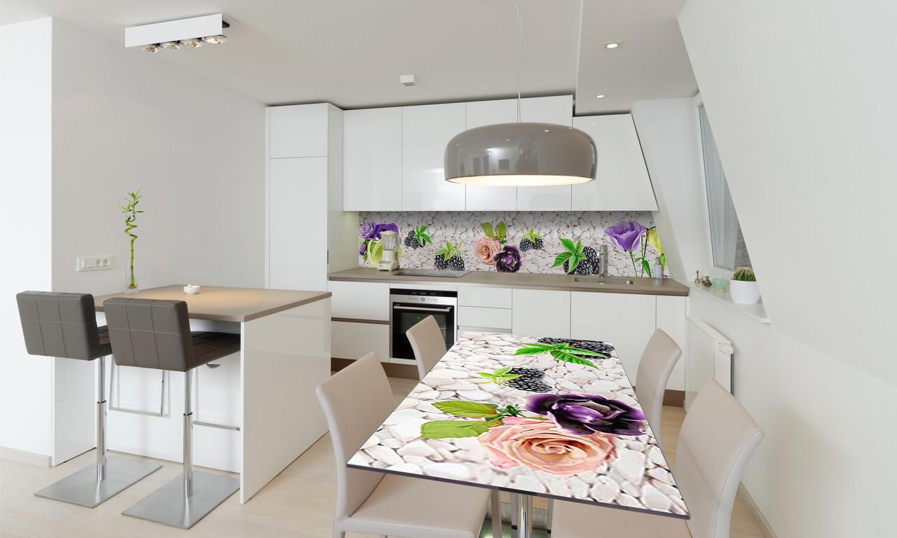 Наклейка 3Д виниловая на стол Zatarga «Ягоды и Цветы» 600х1200 мм для домов, квартир, столов, кофейн,
