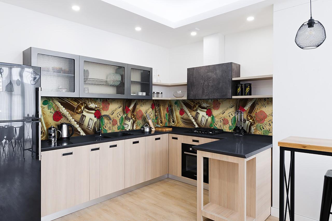 Скинали на кухню Zatarga «Музыка» 600х3000 мм виниловая 3Д наклейка кухонный фартук самоклеящаяся