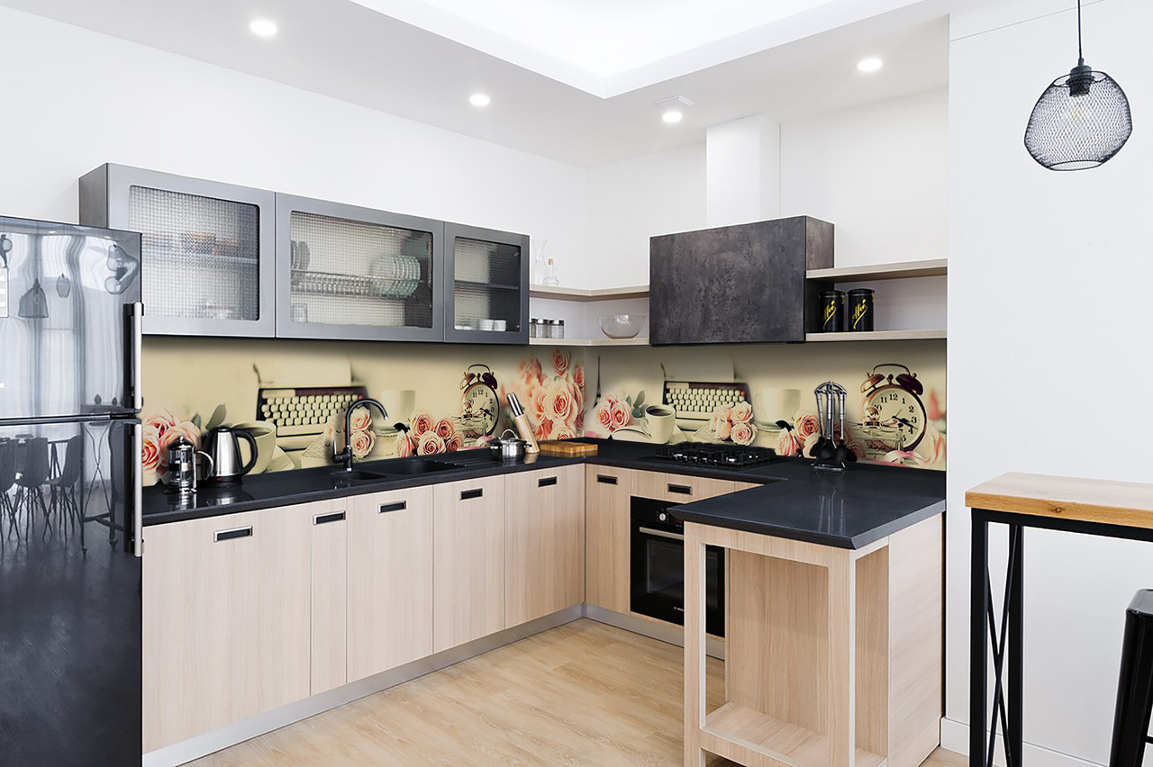 Скинали на кухню Zatarga «Утро в Париже» 650х2500 мм виниловая 3Д наклейка кухонный фартук самоклеящаяся