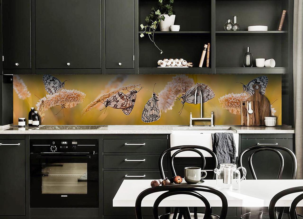 Скинали на кухню Zatarga «Бабочки и Колоски» 650х2500 мм виниловая 3Д наклейка кухонный фартук самоклеящаяся