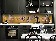 Скинали на кухню Zatarga «Бабочки и Колоски» 650х2500 мм виниловая 3Д наклейка кухонный фартук самоклеящаяся, фото 1
