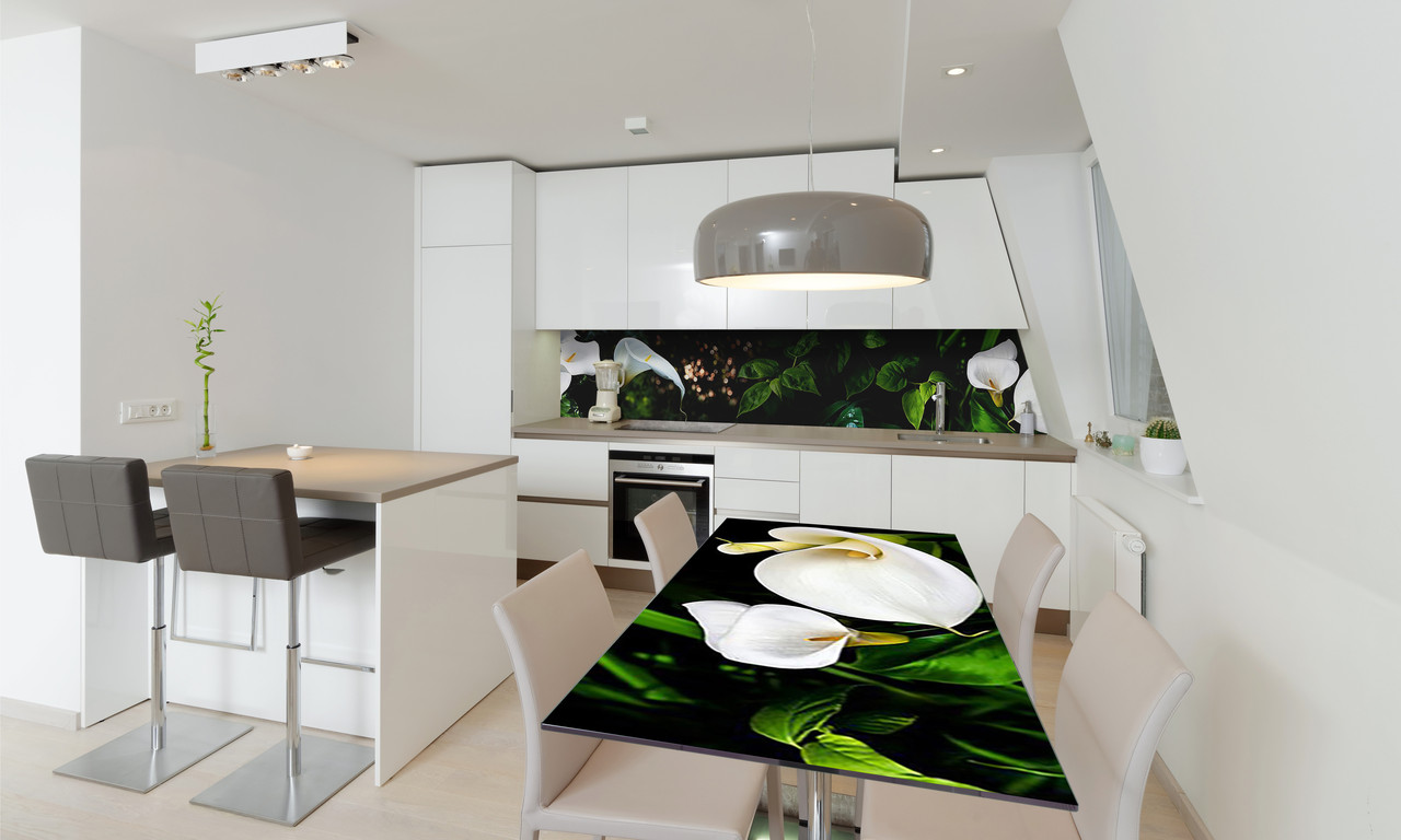 Наклейка 3Д виниловая на стол Zatarga «Белые Каллы» 600х1200 мм для домов, квартир, столов, кофейн,