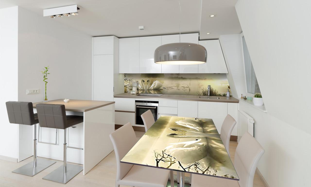 Наклейка 3Д виниловая на стол Zatarga «Лебеди» 650х1200 мм для домов, квартир, столов, кофейн, кафе