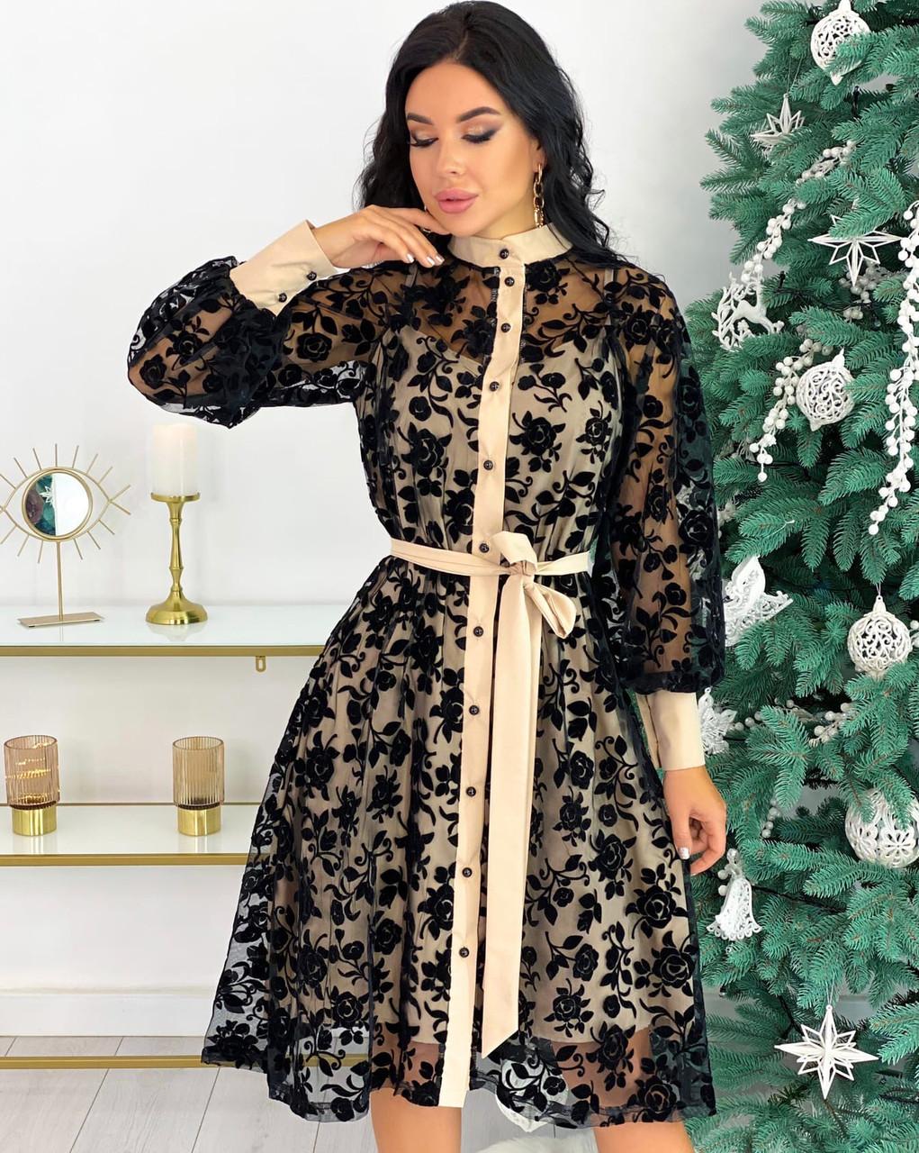 Бежевое нарядное платье с сеткой