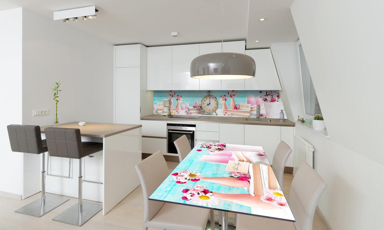 Наклейка 3Д виниловая на стол Zatarga «Розовое настроение» 600х1200 мм для домов, квартир, столов,