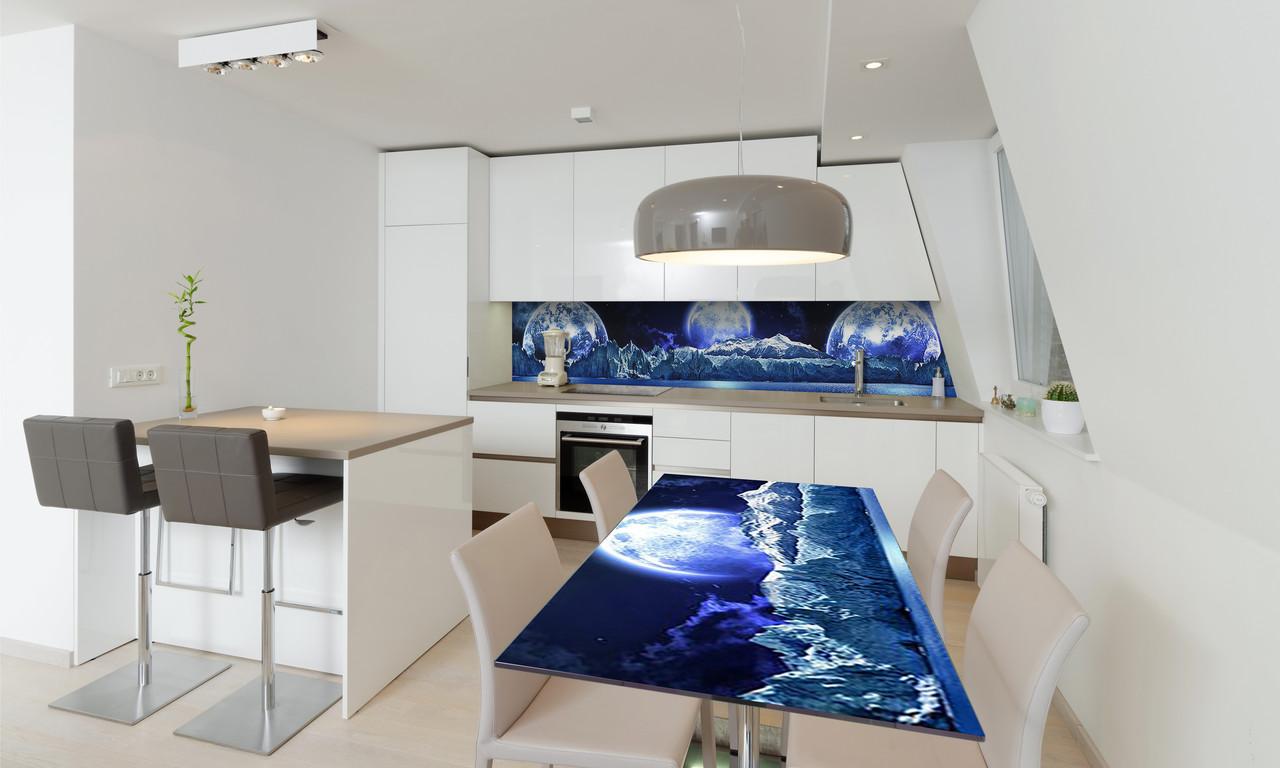 Наклейка 3Д виниловая на стол Zatarga «Планеты» 650х1200 мм для домов, квартир, столов, кофейн, кафе