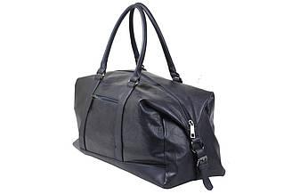 Мужская дорожная сумка из качественного кож-зама темно-синего цвета.
