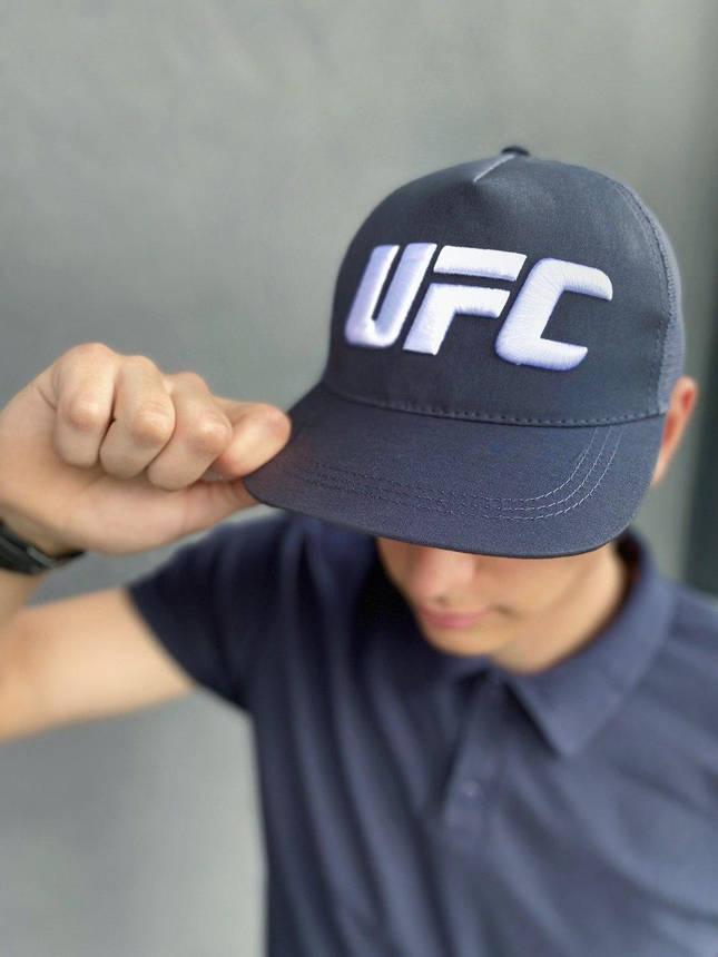 Кепка UFC Reebok мужская | женская рибок серая big white logo, фото 2