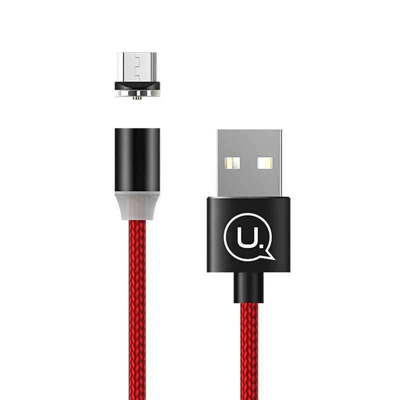 Магнитный кабель для зарядки Usams microUSB 1m 2.1A 360° Красный (2228)