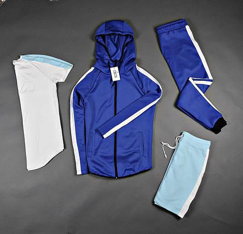 Спортивный костюм кенгуру мужской + футболка с шортами синие, фото 2