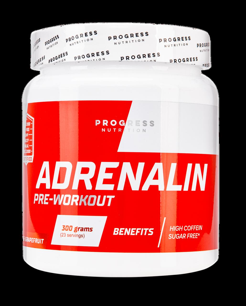 Предтреник Progress Nutrition Adrenaline 300g. АПЕЛЬСИН-ГРЕЙПФРУТ