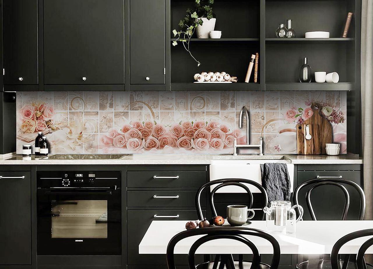 Скинали на кухню Zatarga «Розы под Плитку» 650х2500 мм виниловая 3Д наклейка кухонный фартук самоклеящаяся