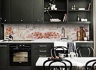 Скинали на кухню Zatarga «Розы под Плитку» 650х2500 мм виниловая 3Д наклейка кухонный фартук самоклеящаяся, фото 1