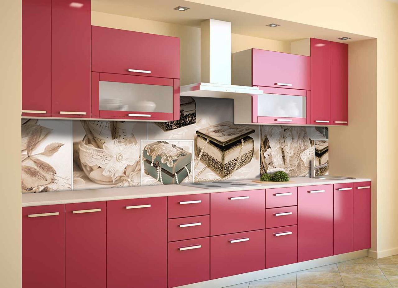 Скинали на кухню Zatarga «Шкатулка» 650х2500 мм виниловая 3Д наклейка кухонный фартук самоклеящаяся