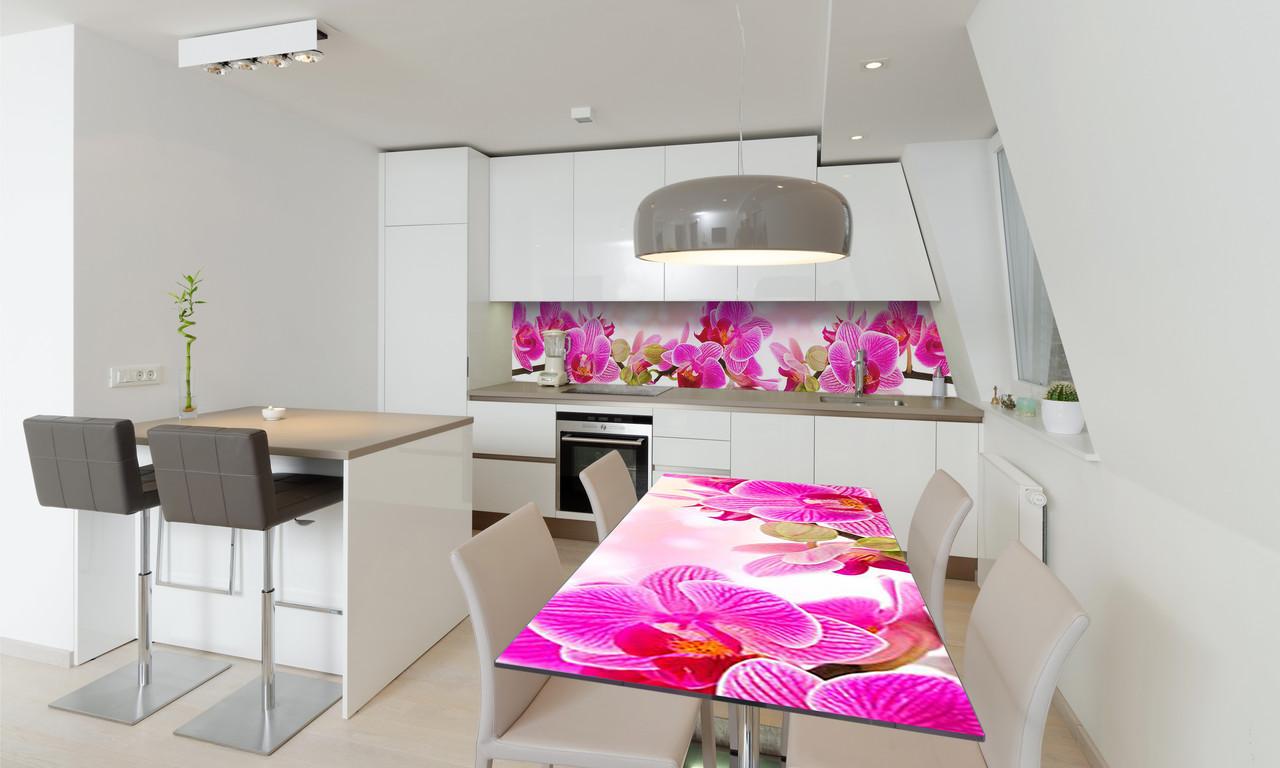 Наклейка 3Д виниловая на стол Zatarga «Розовая Орхидея» 600х1200 мм для домов, квартир, столов, кофейн,