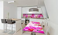 Наклейка 3Д виниловая на стол Zatarga «Розовая Орхидея» 600х1200 мм для домов, квартир, столов, кофейн,, фото 1
