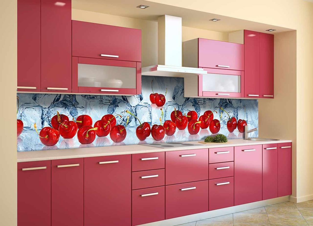 Скинали на кухню Zatarga «Спелые Вишни» 600х2500 мм виниловая 3Д наклейка кухонный фартук самоклеящаяся