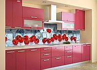Скинали на кухню Zatarga «Спелые Вишни» 600х2500 мм виниловая 3Д наклейка кухонный фартук самоклеящаяся, фото 1
