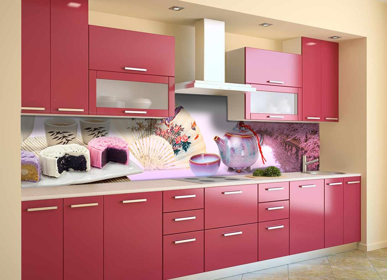 Скинали на кухню Zatarga «Розовые Сакуры» 600х2500 мм виниловая 3Д наклейка кухонный фартук самоклеящаяся