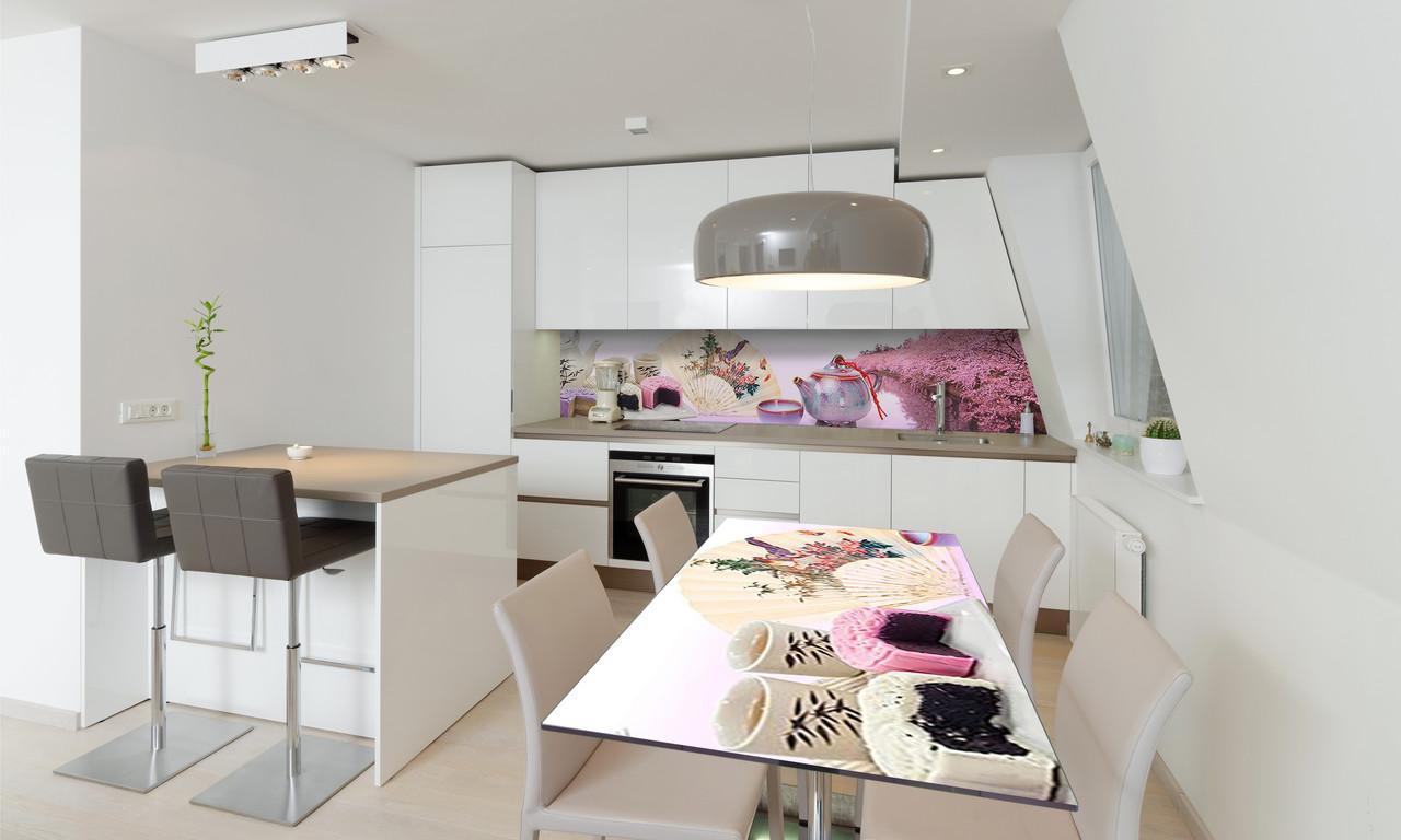 Наклейка 3Д виниловая на стол Zatarga «Розовые Сакуры» 600х1200 мм для домов, квартир, столов, кофейн,