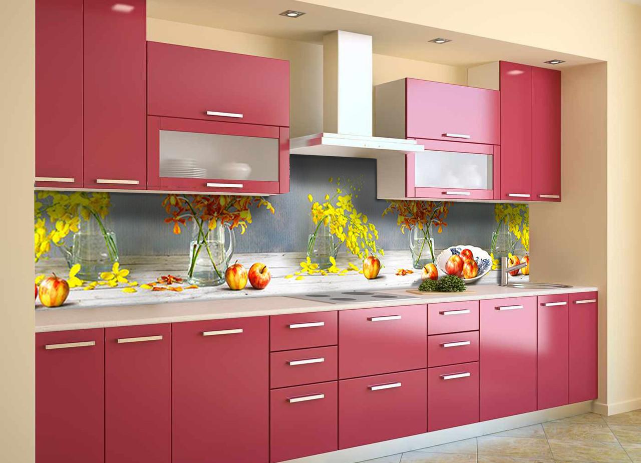Скинали на кухню Zatarga «Яблоки и Орхидеи» 600х2500 мм виниловая 3Д наклейка кухонный фартук самоклеящаяся