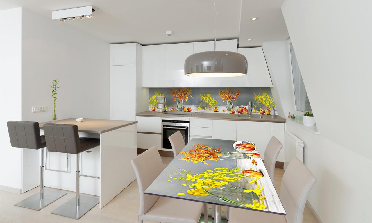 Наклейка 3Д виниловая на стол Zatarga «Яблоки и Орхидеи» 650х1200 мм для домов, квартир, столов,