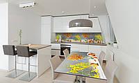 Наклейка 3Д виниловая на стол Zatarga «Яблоки и Орхидеи» 650х1200 мм для домов, квартир, столов, , фото 1