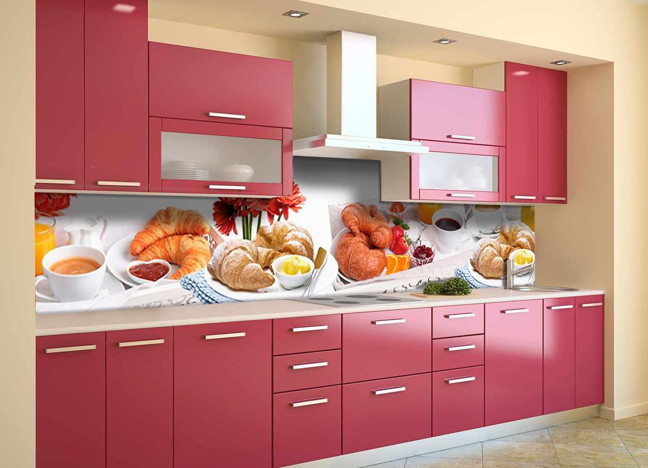 Скинали на кухню Zatarga «Круасаны» 600х2500 мм виниловая 3Д наклейка кухонный фартук самоклеящаяся