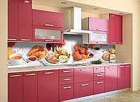 Скинали на кухню Zatarga «Круасаны» 600х3000 мм виниловая 3Д наклейка кухонный фартук самоклеящаяся, фото 1