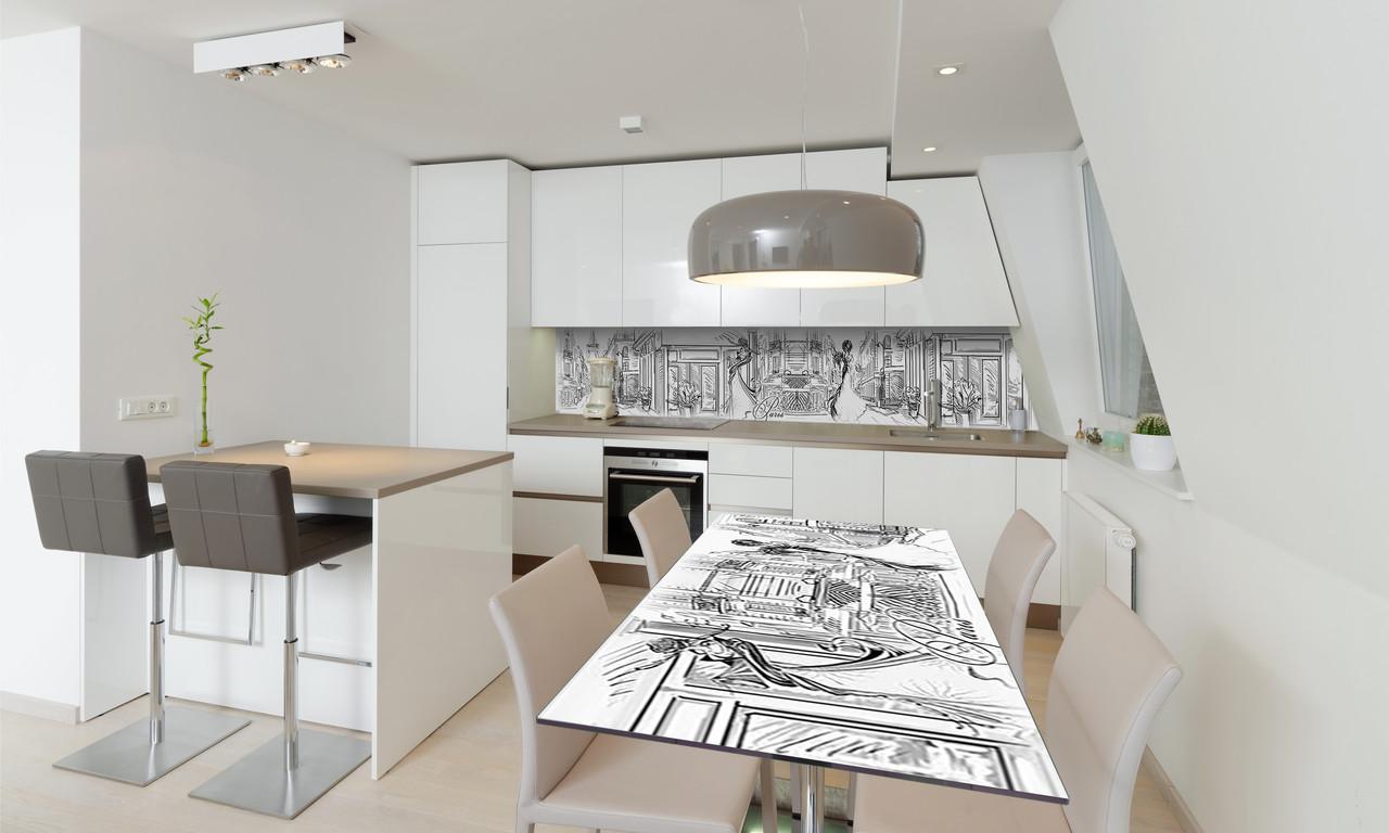 Наклейка 3Д виниловая на стол Zatarga «Нарисованный Париж» 600х1200 мм для домов, квартир, столов,