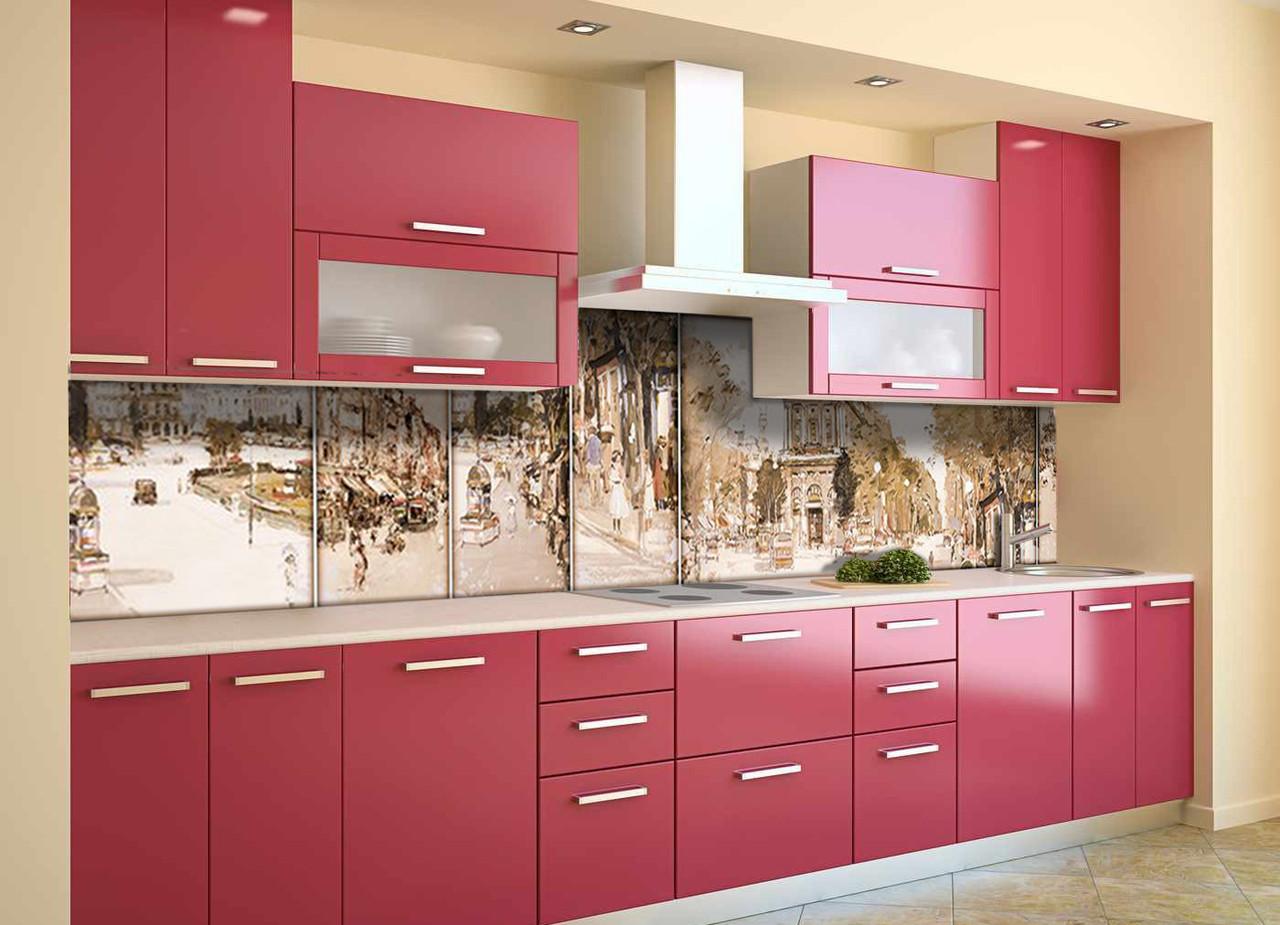 Скинали на кухню Zatarga «Акварельный Ретро Париж» 650х2500 мм виниловая 3Д наклейка кухонный фартук