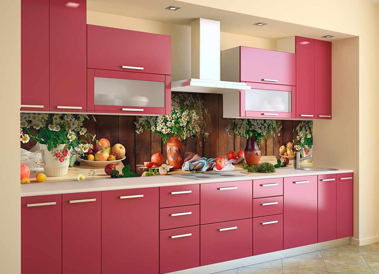 Скинали на кухню Zatarga «Полевые Ромашки» 600х3000 мм виниловая 3Д наклейка кухонный фартук самоклеящаяся
