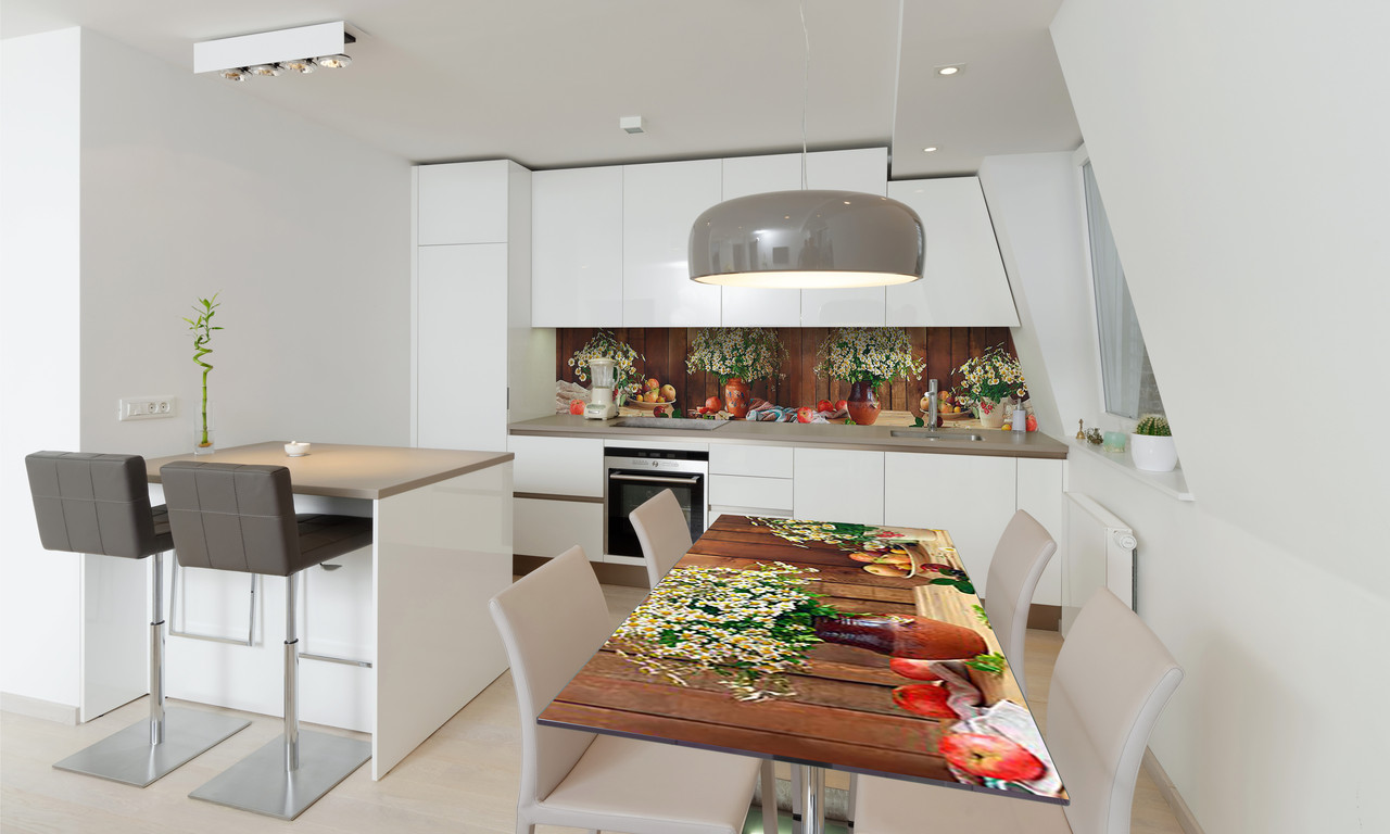 Наклейка 3Д виниловая на стол Zatarga «Полевые Ромашки» 600х1200 мм для домов, квартир, столов, кофейн,