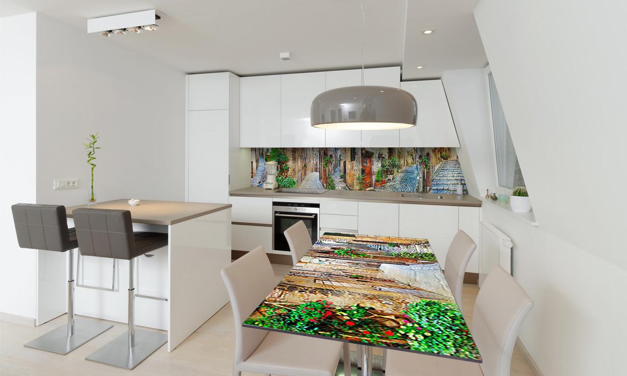 Наклейка 3Д виниловая на стол Zatarga «Каменные улицы» 600х1200 мм для домов, квартир, столов, кофейн,