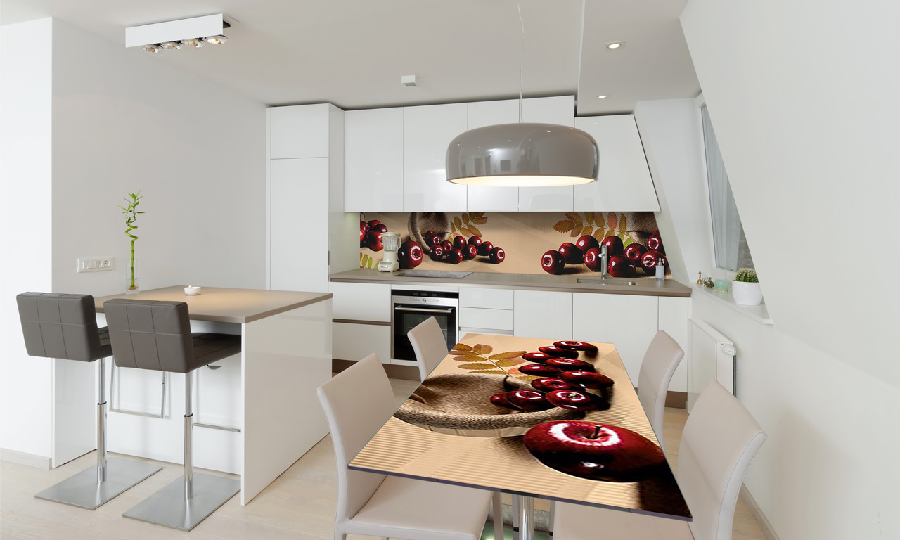 Наклейка 3Д виниловая на стол Zatarga «Спелые Яблоки» 650х1200 мм для домов, квартир, столов, кофейн,