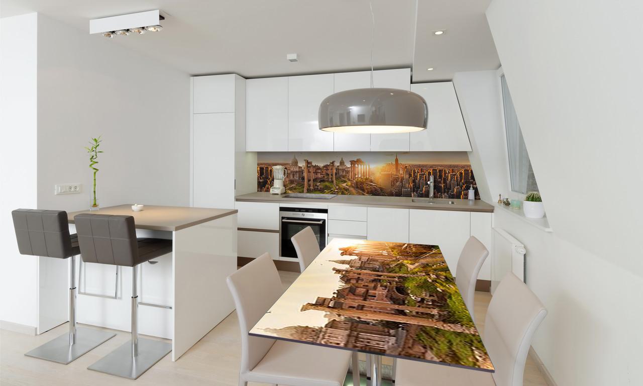 Наклейка 3Д виниловая на стол Zatarga «Рассвет над городом» 600х1200 мм для домов, квартир, столов,