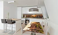 Наклейка 3Д виниловая на стол Zatarga «Рассвет над городом» 600х1200 мм для домов, квартир, столов, , фото 1