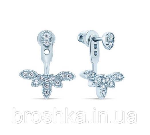 Серебряные серьги джекеты веер под мочкой ушка, фото 2