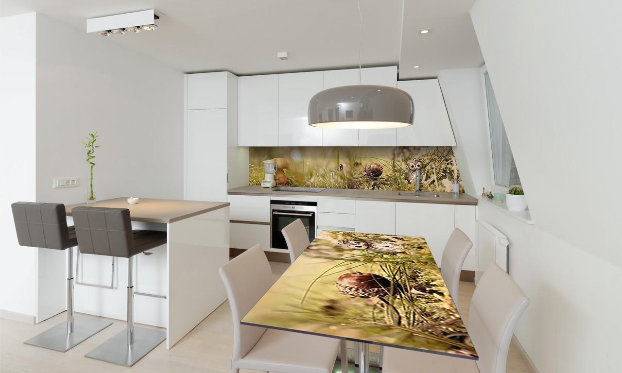 Наклейка 3Д виниловая на стол Zatarga «Грибы» 600х1200 мм для домов, квартир, столов, кофейн, кафе