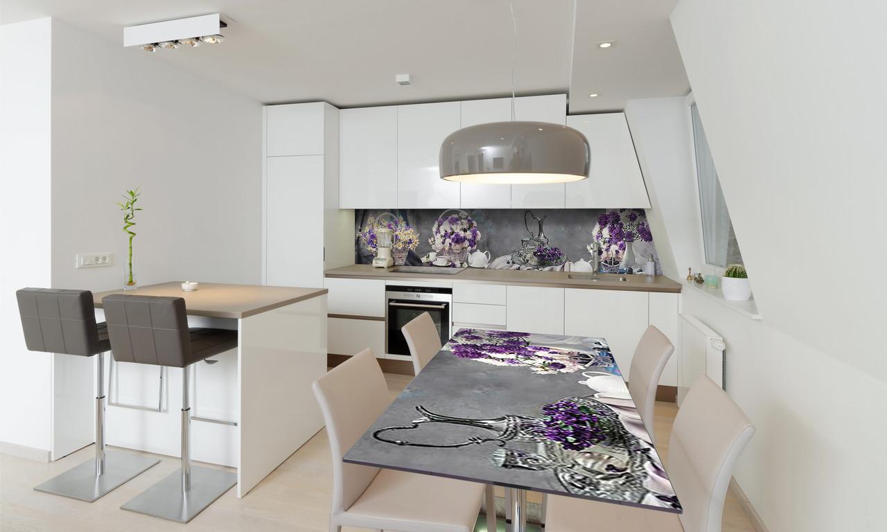 Наклейка 3Д виниловая на стол Zatarga «Букет Хризантем» 650х1200 мм для домов, квартир, столов, кофейн,