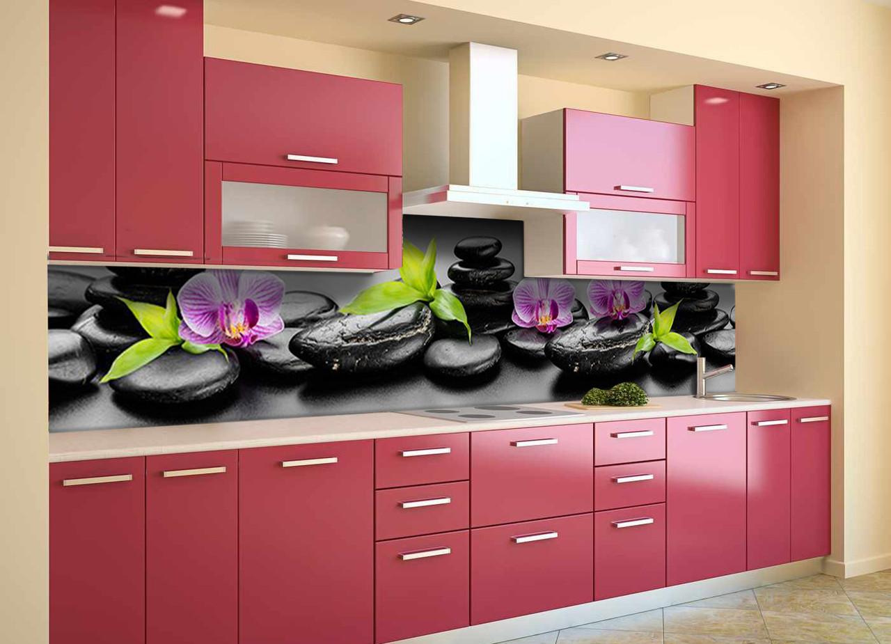 Скинали на кухню Zatarga «Черные камни» 600х3000 мм виниловая 3Д наклейка кухонный фартук самоклеящаяся