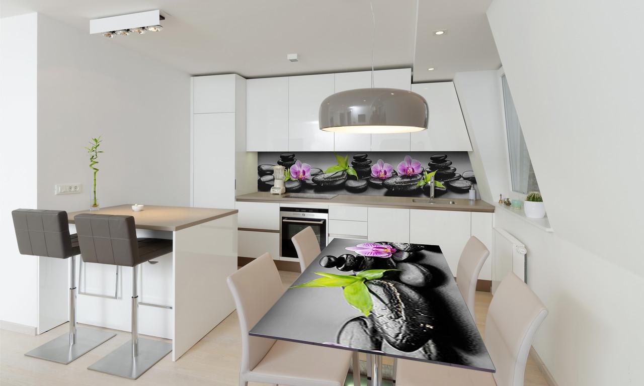 Наклейка 3Д виниловая на стол Zatarga «Черные камни» 600х1200 мм для домов, квартир, столов, кофейн,