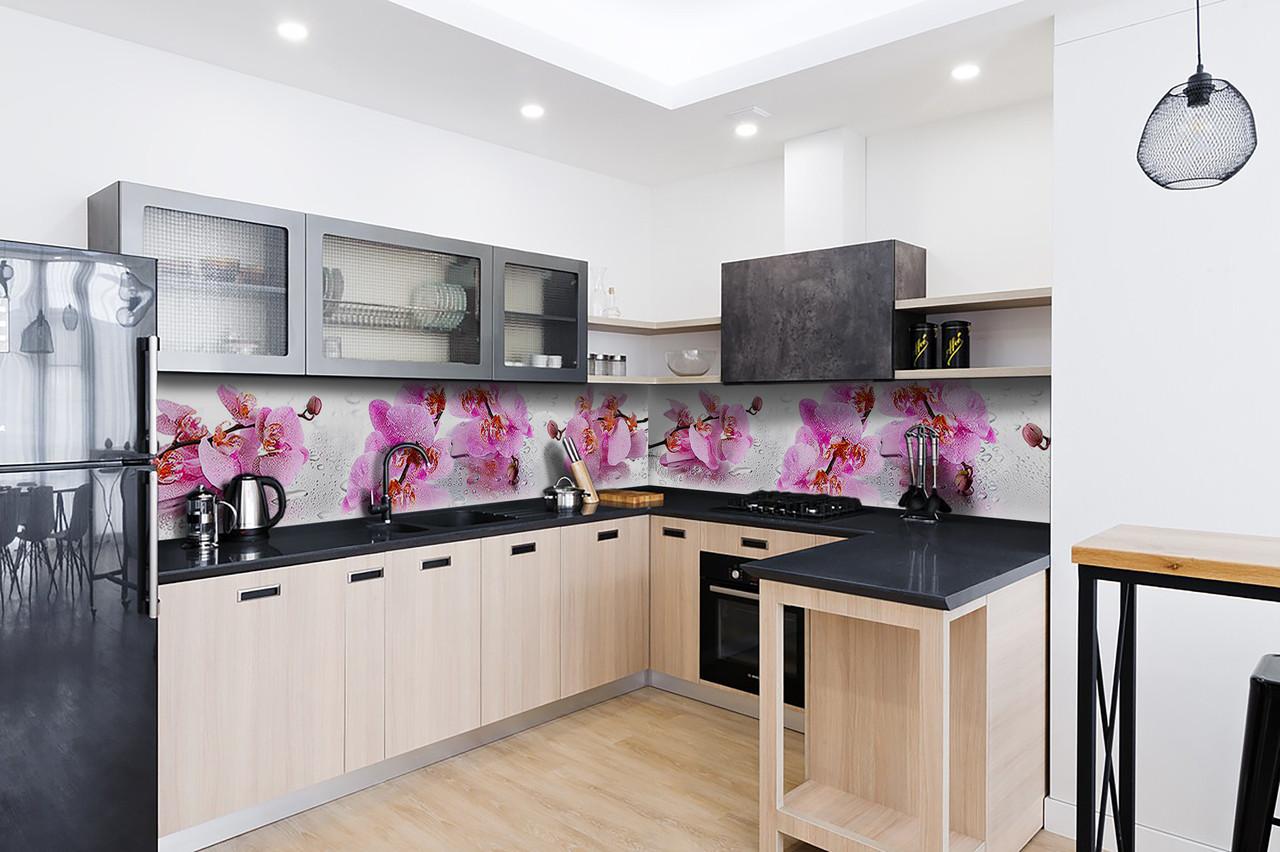 Скинали на кухню Zatarga «Орхидея Сакраменто» 600х3000 мм виниловая 3Д наклейка кухонный фартук самоклеящаяся