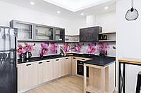 Скинали на кухню Zatarga «Орхидея Сакраменто» 600х3000 мм виниловая 3Д наклейка кухонный фартук самоклеящаяся, фото 1