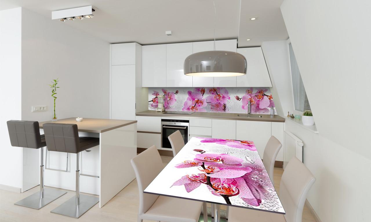 Наклейка 3Д виниловая на стол Zatarga «Орхидея Сакраменто» 650х1200 мм для домов, квартир, столов,