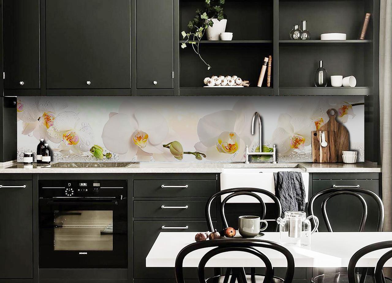 Скинали на кухню Zatarga «Белая орхидея 03» 600х2500 мм виниловая 3Д наклейка кухонный фартук самоклеящаяся